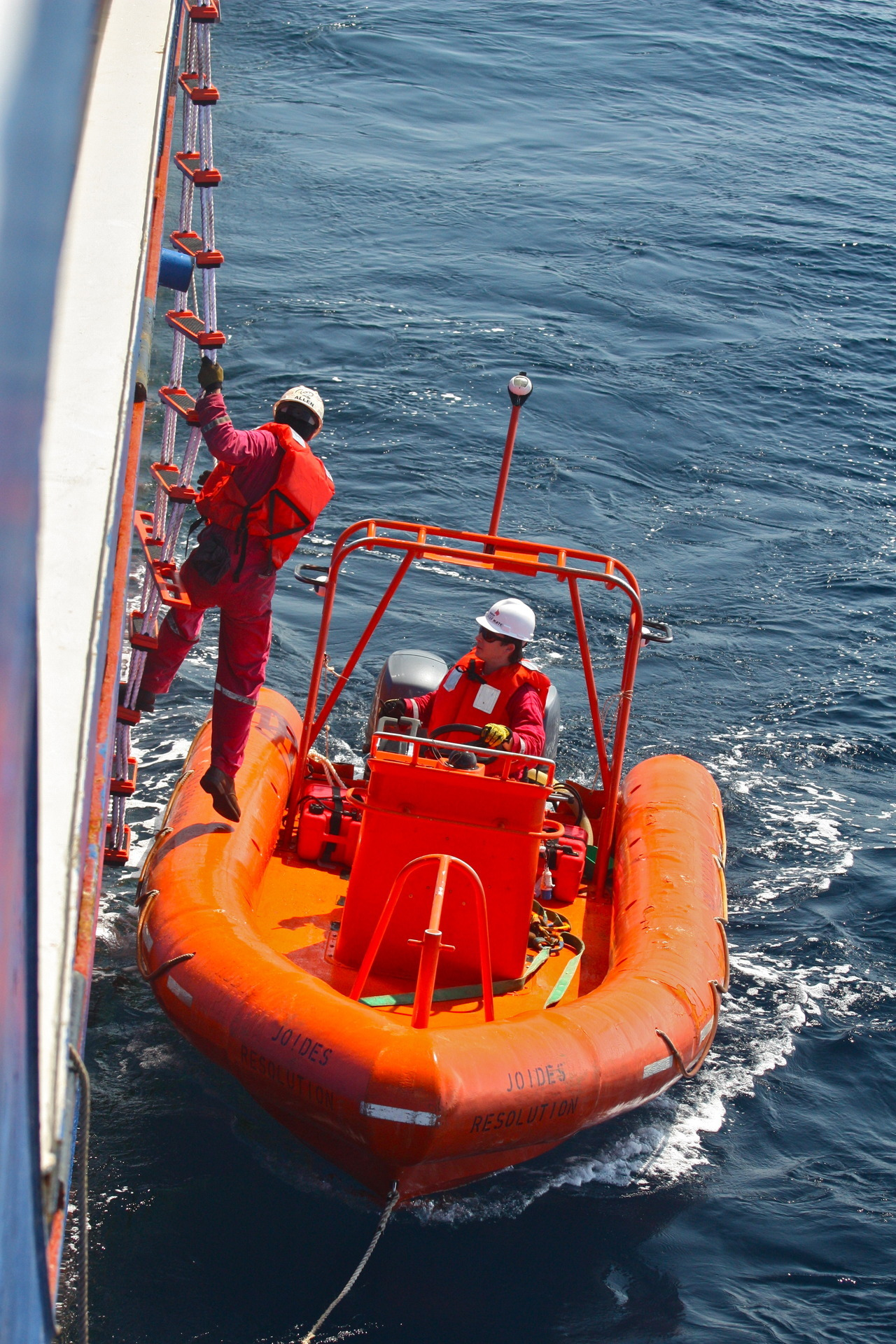 Man overboard drill on a sunny North Atlantic day.