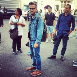 Stylish street snapper Mr @bruring rocking a bit of double denim outside Givenchy #attheshows #pfw (Taken with Instagram)