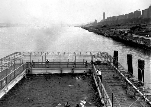 shakespeareandshoes:  dontcookbilly:  NYC used to have floating pools on the shores of the Hudson?   and then we had dumpster pools. looks like New Yorkers have been swimming in trash for quite some time now: