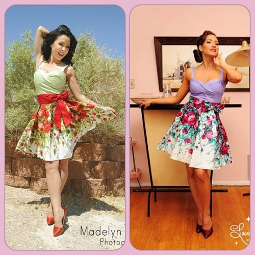 Coming to Pinupgirlclothing.com very soon - The Audrey Skirt in a gorgeous floral border print, available in two colorways. Check the Coming Soon section of our site for details and to add your name to the wait list! <3 Laura #pinupgirlclothing #pinupcouture #laurabyrnes #pinup #masuimimax (Taken with Instagram)
