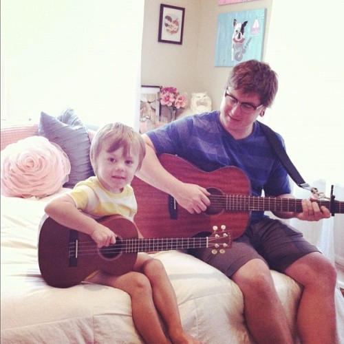 my two favorite dudes. my ukulele is the perfect size. (Taken with Instagram)