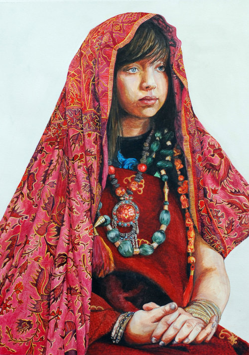 My watercolour of 'Standard Hannah' all adorned and orientalist and stuff. I entered it for the sunday times student watercolour competition but sadly they didn't take to it, meh.