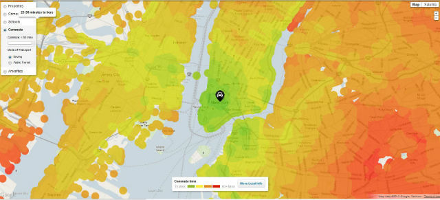 Heat Map Visualizes Your Daily Commute  Local info site Trulia launched a Commute Map that lets users dynamically visualize their journey to work. It's especially useful for those planning to move to a new area. The interactive and responsive map helps users see commute times to work and other areas by translating the information into a heat bubbles.