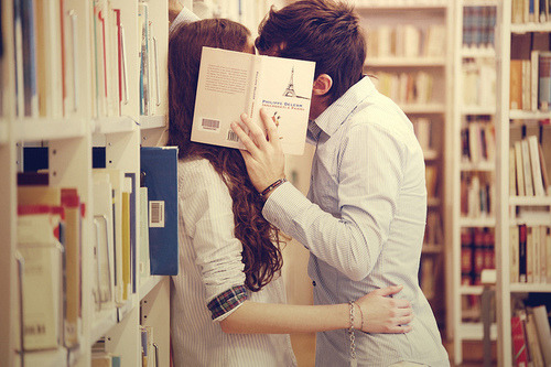 let-life-begin: Kiss amongst the bookshelves…I wish :D