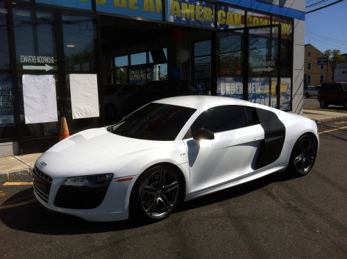 "German Beluga Audi R8 V10 spotted at an ""All-American"" car dealership. Parked behind a Corvette Grand Sport convertible. Probably the owner's car."