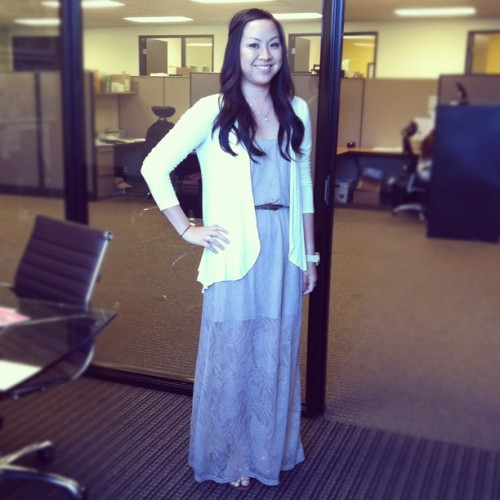 Our marketing assistant, Angela wearing our lace crochet maxi, available online (Taken with Instagram at Styles For Less HQ)
