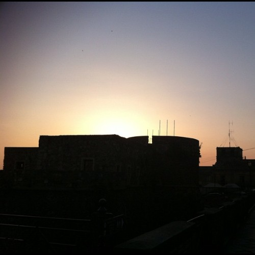 Castle sunset silhouette in piazza a Pizzo, Italy (Taken with Instagram)