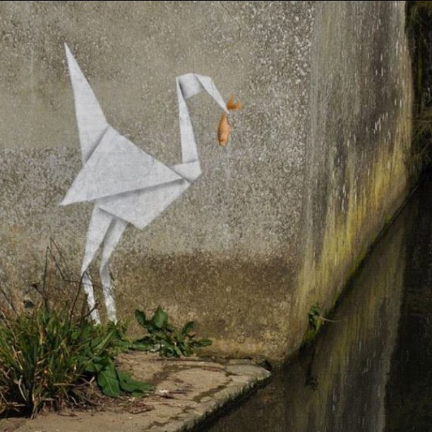 """Paper Crane"" - one of the latest confirmed Banksy's… #banksy #streetart (Taken with Instagram)"