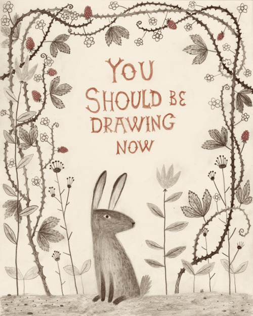 ohcomelymagazine:  A lovely drawing to remind you to draw more? That's pretty sweet. chuckgroenink:  Someone commissioned me to remind her of her artschool duties.