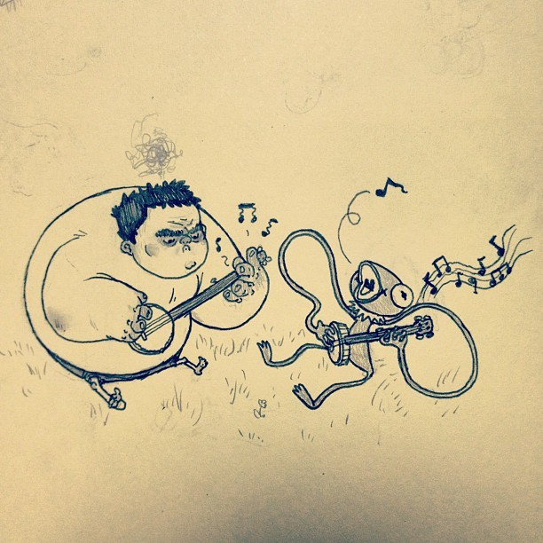paperbeatsscissors:  Songs in the key of green #tumblrgram #doodle http://instagr.am/p/Md5bBFAvZi/