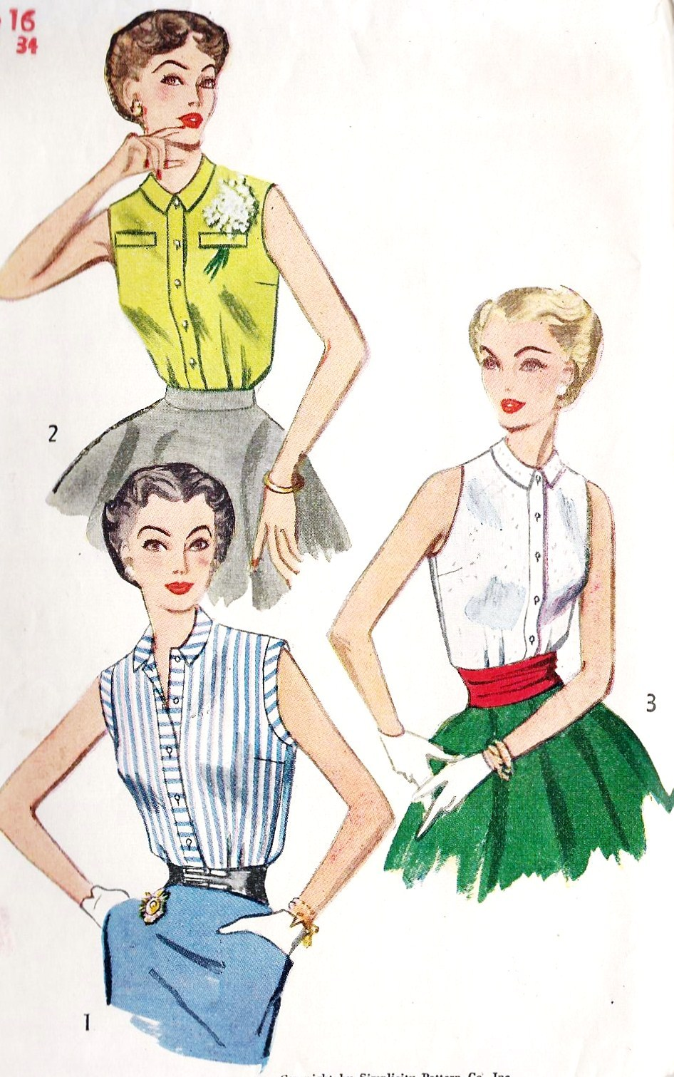 missbettysattic:  1950s Misses Sleeveless Blouse Vintage Sewing Pattern, Simplicity 4238