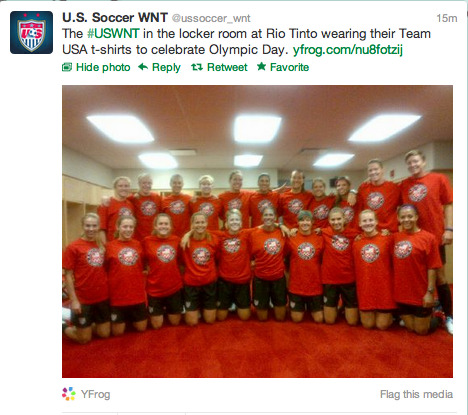 @ussoccer_wnt: The #USWNT in the locker room at Rio Tinto wearing their Team USA t-shirts to celebrate Olympic Day.