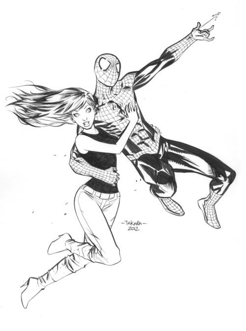 mtakara:  commission. Mary Jane, Spidey. inks. colors soon.