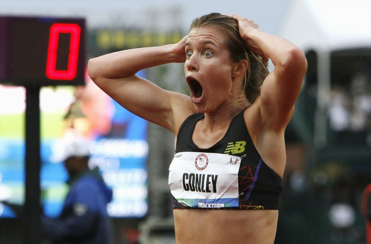 She should get a medal just for this reaction. Kim Conley reacts to placing third in the women's 5,000-metre final at the U.S. Olympic athletics trials in Eugene, Oregon. She made her first Olympic team.