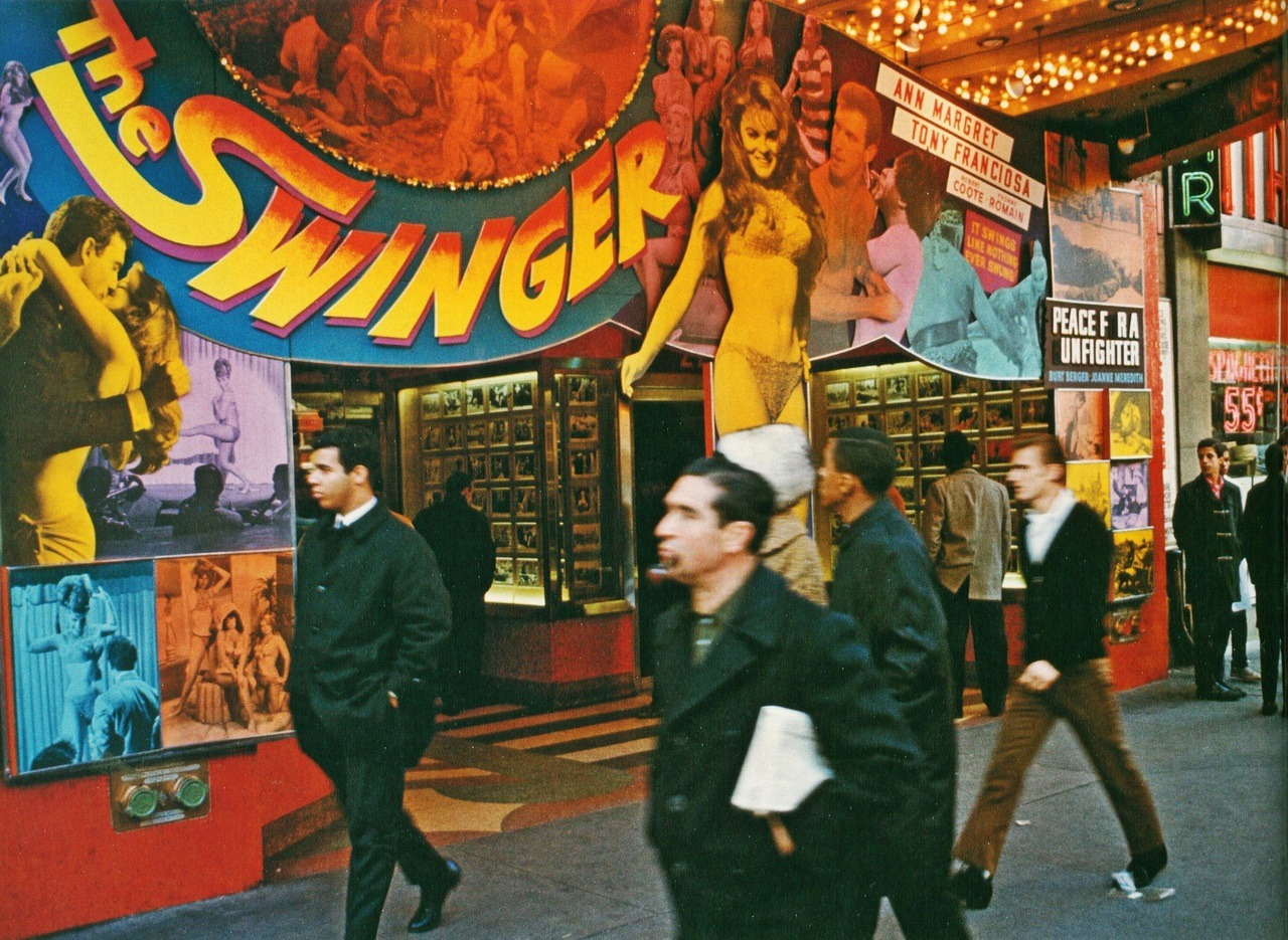 broadway at 42nd street, new york, 1966 by danny lyon