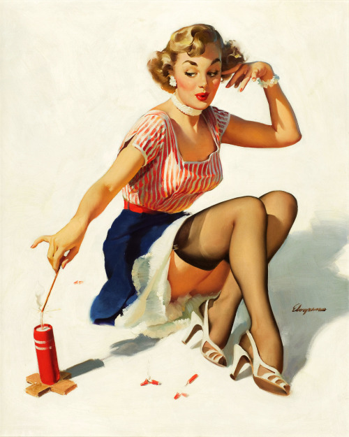 """Looking For Trouble"" by Gil Elvgren, 1953"