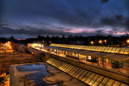 """Skylit"" The Metro station in College Park, Maryland at sunset. Viewed from the adjacent parking garage."