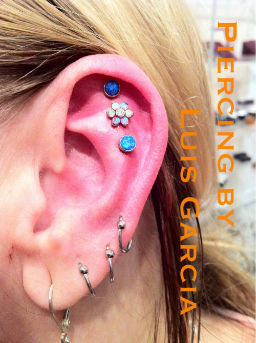 Fresh triple helix with Anatometal opal flower, dark blue opal, and light blue opal