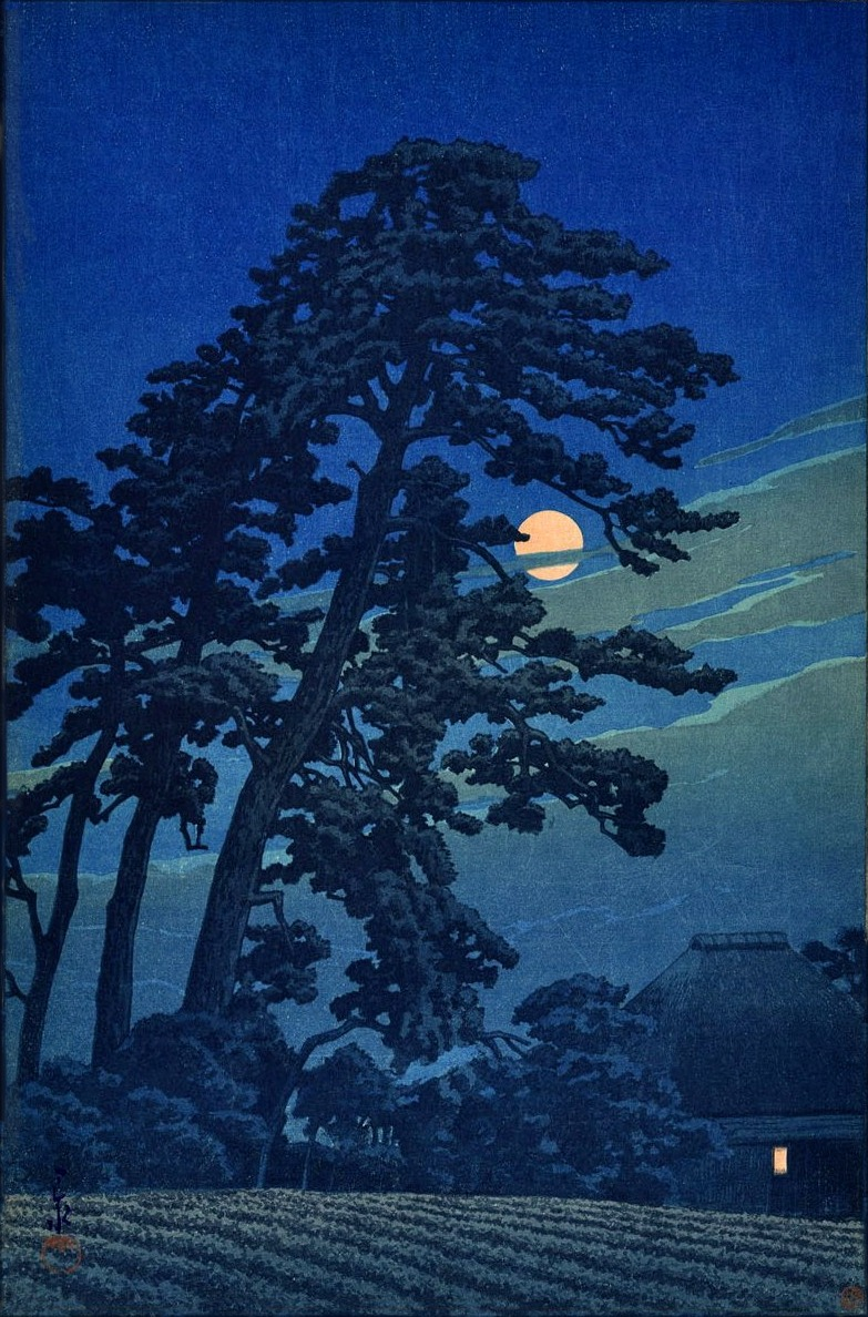 ponderful:  Hasui Kawase, Moon at Megome (1930). Woodblock print.