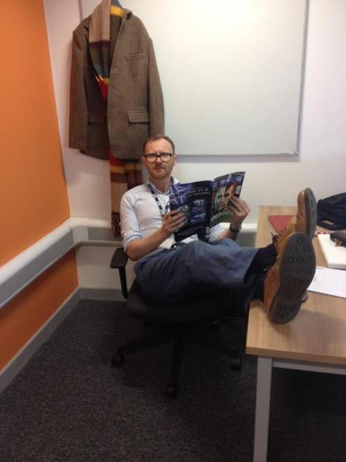 Mark Gatiss hard at work in the Doctor Who office.