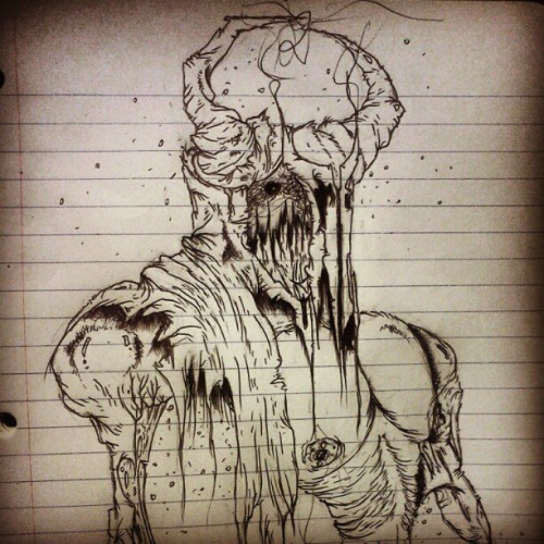 #closeup #monster #demon #death #art #pen #ink #scary #creepy #gross  (Taken with Instagram)