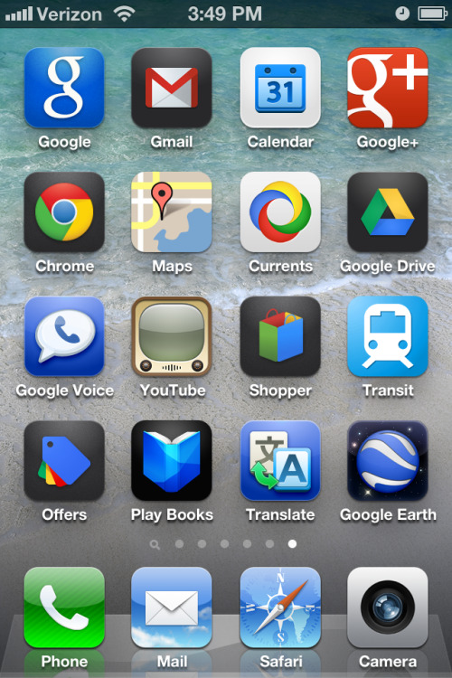 My new iPhone Google screen.