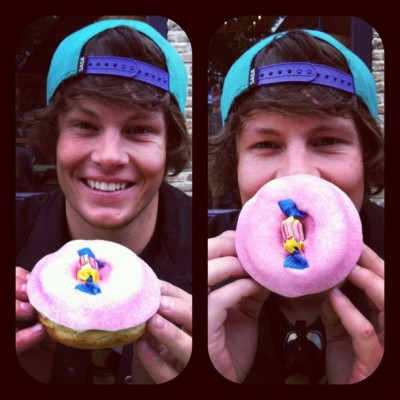 @timdurtschi and his #bubblegum #voodoodoughnut (Taken with Instagram)