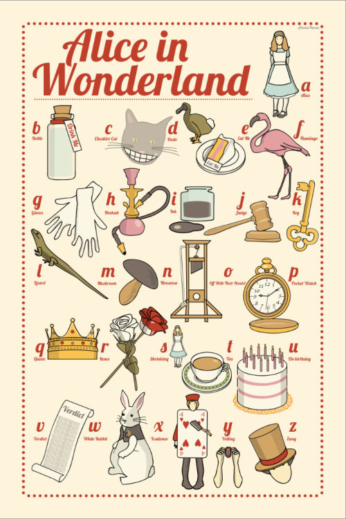 heyoscarwilde:  The A to Z of Alice in Wonderland illustration by Claudia Varosio :: via etsy.com