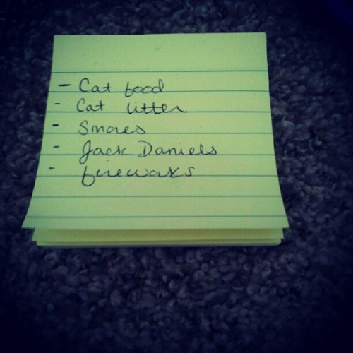 My grocery list…. (Taken with Instagram)
