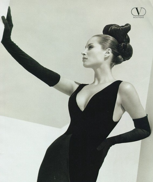 Christy Turlington in a Valentino ad, photography by Herb Ritts