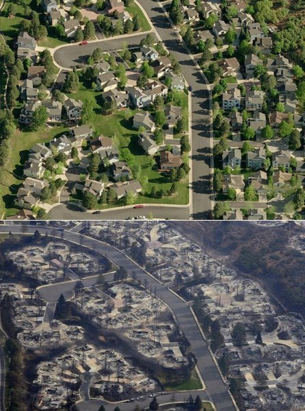 Photo above: via: @denverpost Before and after views of neighborhoods burned by the‪ #WaldoCanyonFire‬: http://dpo.st/KG1K7j  by @CharlesMinshew Update Colorado wildfires: Waldo Canyon Fire, High Park Fire — President Obama to visit Colorado today  Current stats from Inciweb: HIGH PARK FIRE: (7:00 PM MT) TOTAL PERSONNEL — 1,125   SIZE — 87,284 acres PERCENT CONTAINED — 85% HOMES LOST — 257 COST TO DATE — $36.4 million High Park Fire: 1,900 evacuees from High Park Fire near Fort Collins to return home WALDO CANYON FIRE: (9:00 PM MT) TOTAL PERSONNEL — 1,118    SIZE — 16,750 acres PERCENT CONTAINED — 15% HOMES LOST — 347 COST TO DATE — $5.2 million Waldo Canyon Fire:Waldo Canyon Fire evacuees crowd hotels, as thousands remain displaced Waldo Canyon Fire: Police Chief Pete Carey said late Thursday the remains of one person were found in a home where two people had been reported missing. More…