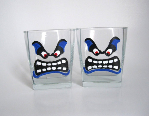 thedrunkenmoogle:  Mario Thwomp Hand-Painted Rocks GlassesCreated by BasementInvaders - $20 for the set of two  Omg want