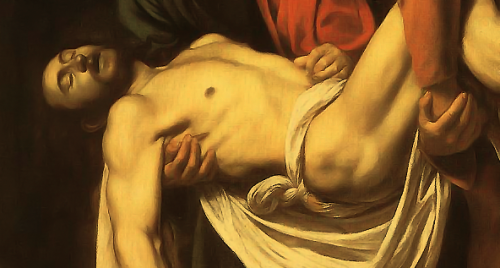 antiqueart:  Caravaggio - The Entombment of Christ (detail) (1602-03)