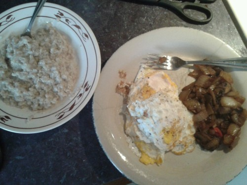 4 eggs fried in *gasp* butter Sauted onions, garlic, and mushrooms 1/2 cup oatmeal sweetened with stevia ~530 calories