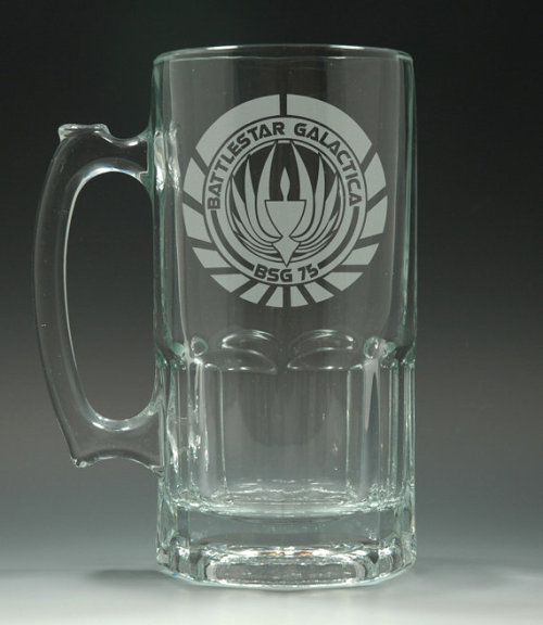 thedrunkenmoogle:  Battlestar Galactica Logo Etched Glass 34oz Beer MugCreated by Invokethee - $22