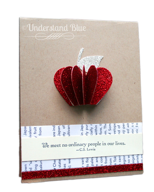 #cardmaking #papermood (via Understand Blue: Paper Disco!) Wow I'm loving this 3D apple with all that glitter…yep paper disco indeed. I've 'met' Lydia virtually through a google hangout for Favecrafts today and I just got her deets so like any crafter worth her/his salt I started to 'stalk' her blog. I found this beauty just waiting for me, oh and there's also a tutorial :)