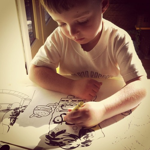 kimlisagor:  Coloring Merlin (Taken with Instagram)  No words. None.  (Hi, Wes!)