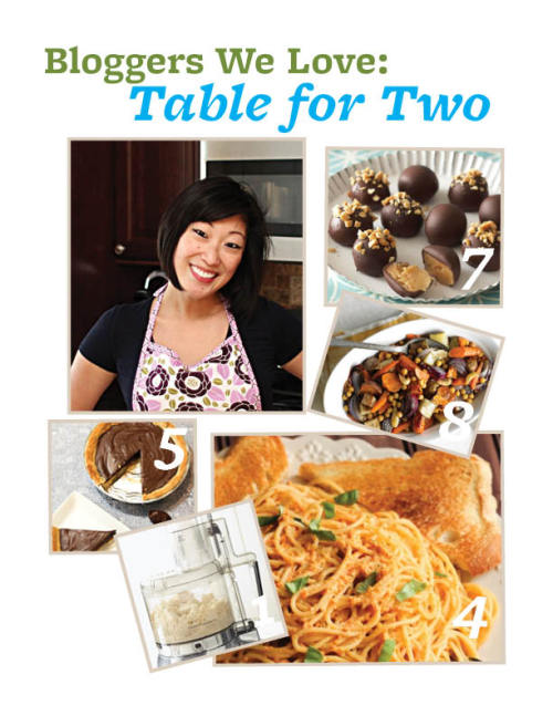 "Blogger We Love: Julie Chiou of Table for Two.  Julie Chiou is a self-proclaimed foodie and the creator of Table for Two, her blog that's chock-full of tasty recipes. With dishes from a ""Holidays"" theme to ""Take-Out, Fake-Out"", she's sure to have a recipe you'll love.  1) Must-have kitchen accessory: It's a tie between my stand mixer and my food processor. I can make a huge batch of cookies, frosting, or whipped cream in my stand mixer in no time. With my food processor, I make a lot of pestos, sauces, soups, and even dough. I would say without those two items, my kitchen would be a whole lot messier!  2) Favorite ingredient: Salt. I love how versatile it is. You can add it to savory foods to bring out and enhance the flavors or you can add it to sweets to cut the sweetness as well as give the dish a sweet-salty effect.  3) Biggest Cooking Inspiration: My mom. I was always in the kitchen with her, learning every step of the way and watching her come up with the most unique recipes. We rarely ever ate out because she made sure we had a home cooked meal every night. It really reinforced eating at the family table together and also really helped with a nutritious and healthy lifestyle.  4) Dish you're most proud of: I'm most proud of my most recent pasta creation, the Roasted Red Pepper Pesto with Goat Cheese Pasta. It was one of those dishes that you couldn't help but eat the entire thing. It's fairly healthy too! There's no cream or butter!  5) Salty or sweet: Ahh, this is a toughie! Ideally, I'd love to choose both because I love a good salty-sweet dessert such as my Nutella and Salted Caramel Pie, but if I had to choose just one, I'd say sweet.  6) Favorite person to cook for: My fiance! He's so easy to cook for because he loves everything and isn't picky!   7) Recipe You'd Recommend: Absolutely love these Peanut Butter Truffles. They're so easy to make and even more delicious! They're great to bring and to have at baby showers (any kind of shower, really), potlucks, and any get-together with friends and family. They're definitely a crowd pleaser.  8) Your go-to dinner dish: For this time of the year (summertime), I love roasting vegetables and making pasta dishes with them or fresh pestos and sauces."