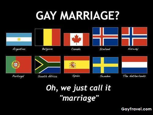 Countries allowing gay marriage.