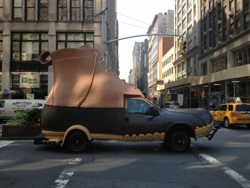 humansofnewyork:  BREAKING: Giant shoe drives down Park.