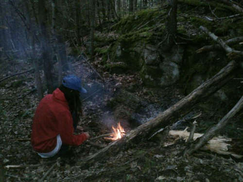 making a fire lol we slept there