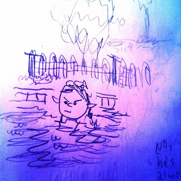 drawing of a mad kid in a pool (Taken with Instagram)