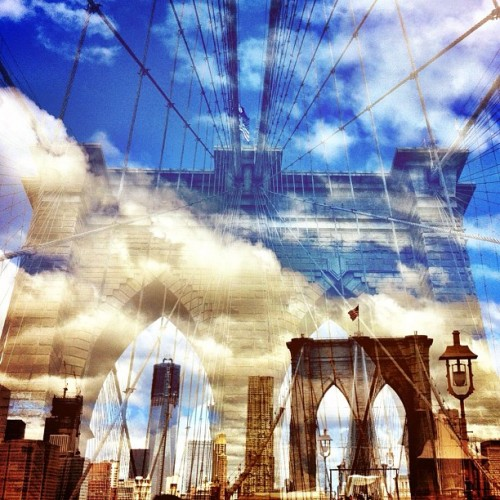 oh-so-coco:  Another beautiful day on the Brooklyn Bridge. Photo taken and edited using only iPhone apps! (Taken with Instagram)