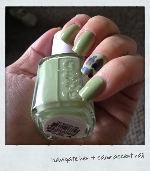 Essie 'Navigate Her' with a camouflage accent nail made up of 'splats' in: Essie Mink Muffs (brown) Essie School of Hard Rocks (dark teal) Sally Hansen Black Out