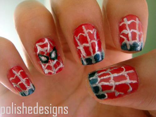 Spiderman, spiderman, does whatever a spider can Rimmel Stiletto RedChina Glaze Midnight MissionsWet 'n Wild Metallica  nail design from http://thenailasaurus.tumblr.com/