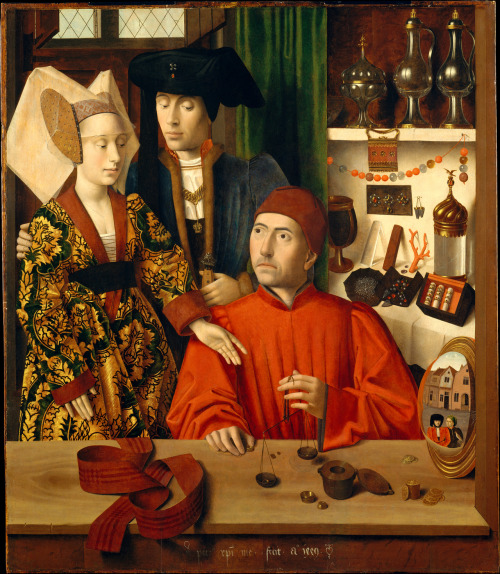 Saint Eligius as a Goldsmith by Petrus Christus, 1449 the Netherlands, the Met Museum The standing man and woman are buying a wedding ring, which is being weighed in that little scale.  To the left of Saint Eligius (or the goldsmith - there's controversy as to who it represents) is a convex mirror showing the road outside his shop.  Seen in this mirror are two foppish men, one who is holding a falcon.