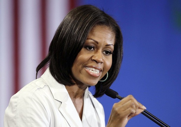 First lady Michelle Obama speaks to campaign volunteers during a stop, Tuesday, June 19, 2012, in Henderson, Nev. (via Photo from AP Photo)