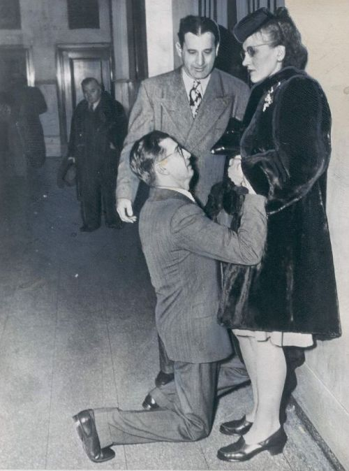 calumet412:  A man begging his wife's forgiveness inside Divorce Court, 1948, Chicago.