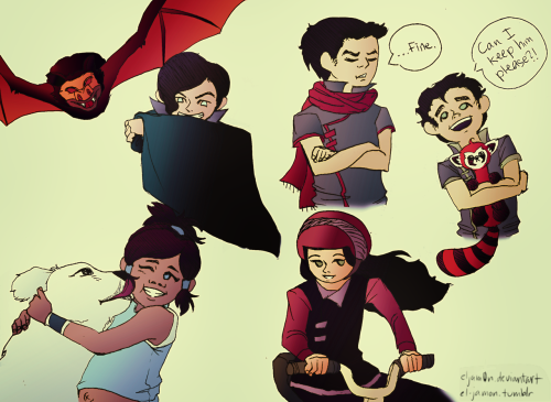 el-jamon:  tiny!The Krew+Tahno with their pets (yes, that includes Asami's bike…)