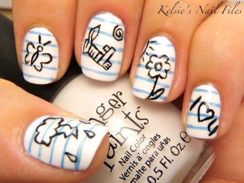 Little notebook sketch nails! So cute.